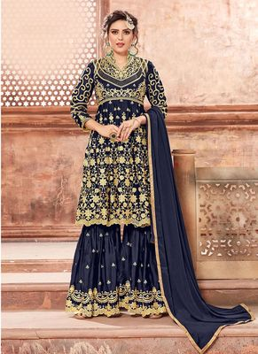 Navy-blue embroidered georgette sharara suits