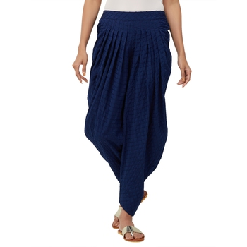 Blue American Crepe Embroidered Mid Rise Dhoti Pants For Women's