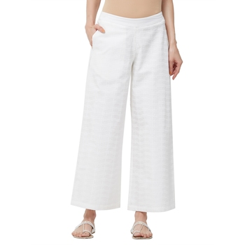 Off White Poplin Embroidered Mid Rise Palazzo For Women's