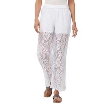 White Floral Knit Embroidered Mid Rise Palazzo For Women's