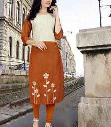 Light-orange embroidered cotton poly long kurti