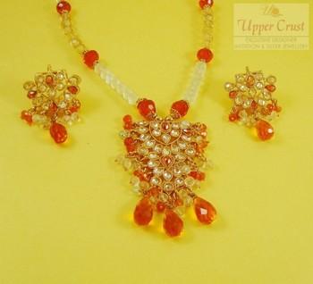 White & Orange Polki Pendant Chain Jewellery