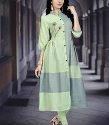 Light-green embroidered cotton poly long kurti