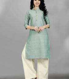Sky-blue woven cotton poly long kurti