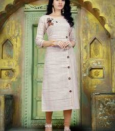 Light-brown embroidered cotton poly long kurti