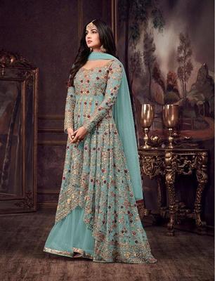 Light-sky-blue embroidered net salwar
