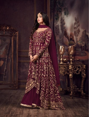 Wine embroidered net anarkali suit