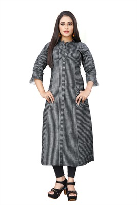 Black hand woven cotton poly long-kurtis