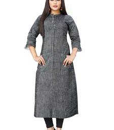Black hand woven cotton poly long-kurtis