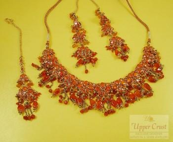Burnt Seina Polki Necklace Maang Tikka Jewellery Set
