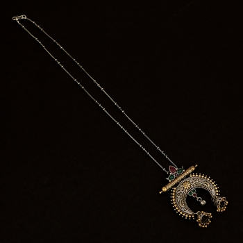 Elegant  Oxidisied Silver & Gold  Look  Brass   Necklace With Pink & Green Beads For Women & Girls
