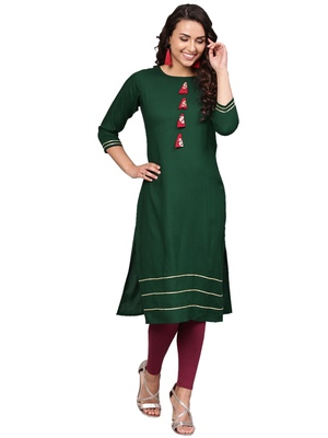 Dark-green plain rayon kurti