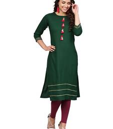 Dark-green plain rayon kurti