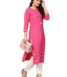 Pink plain crepe kurti