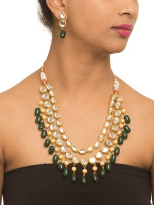 Gold And Green Kundan Work Necklace Set