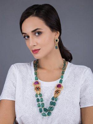 Green Stoned Ethnic Jewellery Set