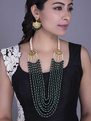 Green Stoned And Pearl Ethnic Necklace Set