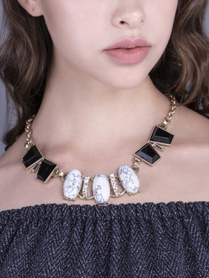 Black And White Stoned Beautiful Necklace