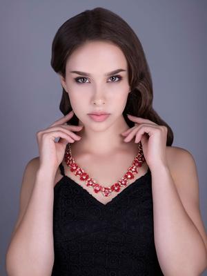 Red Enameled Flower Necklace