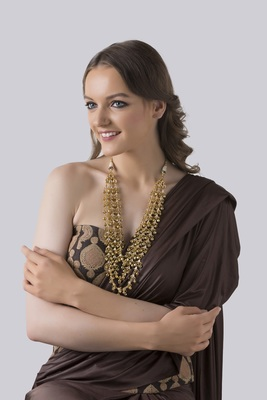 Gold Beaded And Kundan Long Necklace
