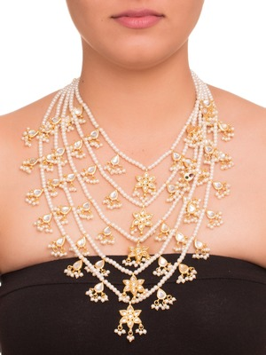 White Kundan And Pearl 5 Line Necklace