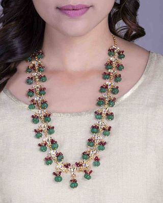 Green Stoned And Red Beaded Kundan Necklace