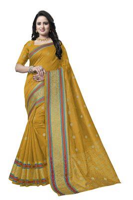 Yellow woven banarasi saree with blouse