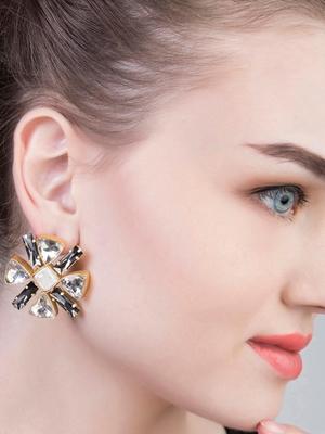 Black And White Crystal Stud Earrings