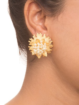 Golden Pearl Stud Earrings