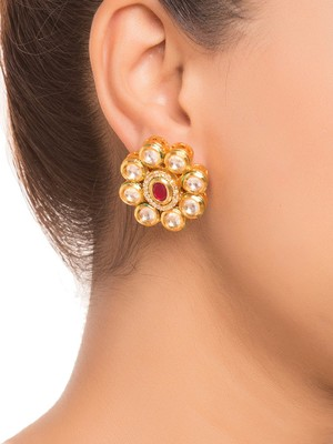 Red Kundan Stud Earrings