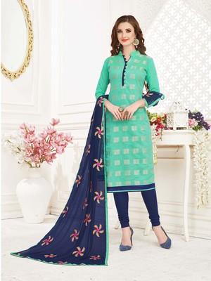 skyblue embroidered banarasi cotton kameez with dupatta