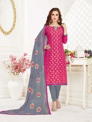 Pink embroidered banarasi cotton kameez with dupatta