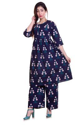 Navy Blue Jaipur Printed Cotton Flared Kurta Palazzo Set