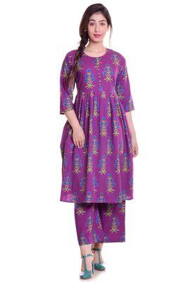 Purple Jaipur Printed Cotton Flared Kurta Palazzo Set