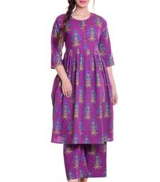Purple Jaipur Printed Cotton Flared Kurta Palazzo Set