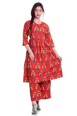 Red Jaipur Printed Cotton Flared Kurta Palazzo Set