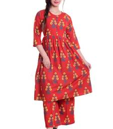 Red Jaipur Printed Cotton Flared Kurta Palazzo Set