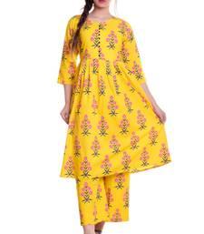Yellow Jaipur Printed Cotton Flared Kurta Palazzo Set