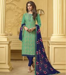 Green embroidered banarasi cotton kameez with dupatta