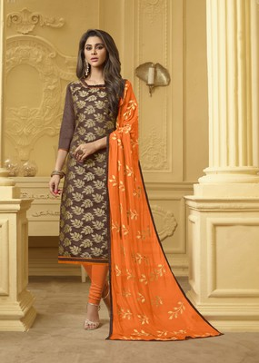 Brown embroidered banarasi cotton kameez with dupatta