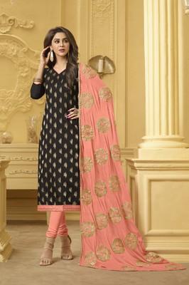 Black embroidered banarasi cotton kameez  with dupatta