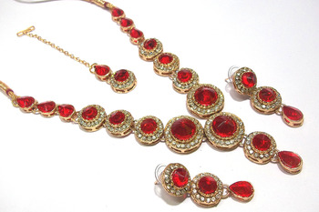 Red Color Stone Round Necklace set