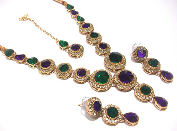 Purple and Green Color Stone Round Necklace set