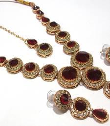 Buy Maroon Color Stone Round Necklace set necklace-set online