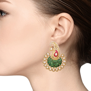 Jewellery Fashionable Chandbali Shape Gold Plated earring for women