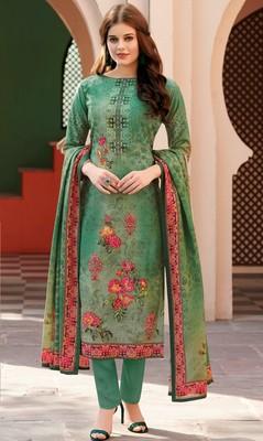 Green digital print satin salwar with dupatta