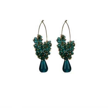 Indian Bollywood Gold Plated Green Pearl Hoop jhumki Earrings Bridal Jewelry