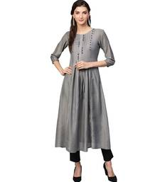 Grey Solid Muslin Silk Kurta