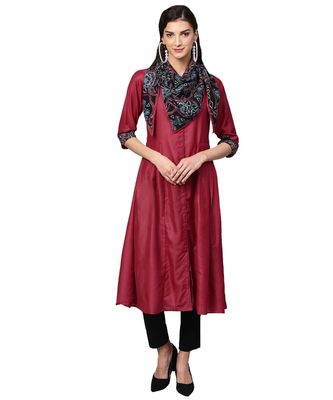 Maroon Solid Muslin Silk Kurta with Stole
