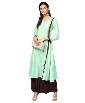 Green Solid Muslin Silk Kurta